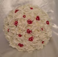 WEDDING FLOWERS ARTIFICIAL RED/IVORY FOAM ROSE WEDDING BRIDES BOUQUET POSIE